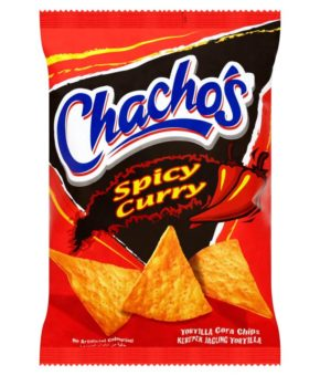 10 x Chacho's Spicy Curry Tortilla Corn Chips 80g