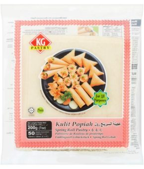 KG Pastry Plain Spring Roll Pastry 50 Sheets 200g (5')