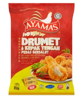 Ayamas Breaded Chicken Drummets & Mid Wings Hot & Spicy 850g
